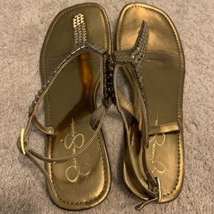 Gold sandals by Jessica Simpson